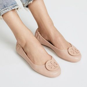 Tory Burch pink Napa leather ballet flat shoes
